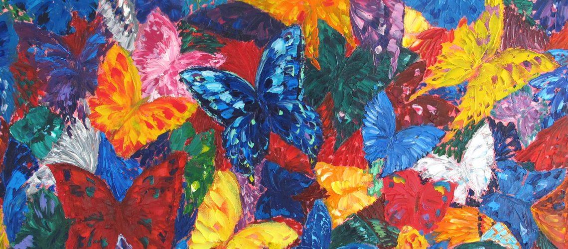 Les papillons. Peinture de mon élève Irina Vorobieva